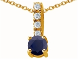 Original Star K Genuine Round 6mm Black Sapphire Pendant
