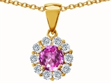 Original Star K Simulated Round Pink Tourmaline Pendant