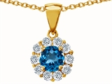 Original Star K Genuine Round Blue Topaz Pendant