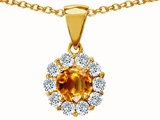 Original Star K™ Genuine Round Citrine Pendant