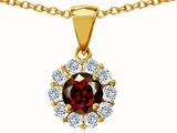 Original Star K Genuine Round Garnet Pendant