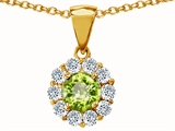 Original Star K Genuine Round Peridot Pendant