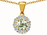 Original Star K™ Genuine Round Green Amethyst Pendant