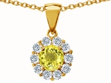 Original Star K™ Genuine Round Lemon Quartz Pendant
