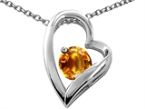 Tommaso Design Heart Shaped Genuine Citrine 7mm Round Pendant