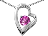 Tommaso Design Heart Shaped Created Pink Sapphire 7mm Round Pendant