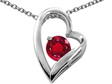 Tommaso Design 7mm Round Created Ruby Heart Shape Pendant