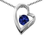 Tommaso Design™ Heart Shaped Created Sapphire 7mm Round Pendant