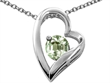Tommaso Design™ Heart Shaped Genuine Green Amethyst 7mm Round  Pendant