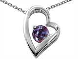 Tommaso Design Heart Shaped Simulated Alexandrite 7mm Round Pendant