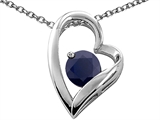 Tommaso Design™ Heart Shaped Genuine Black Sapphire 7mm Round Pendant