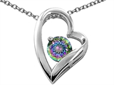 Tommaso Design™ Heart Shaped Mystic Rainbow Topaz Round 7mm Pendant style: 26694