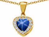 Original Star K 925 Created Heart Shaped Star Sapphire Pendant