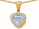 Original Star K 925 Created Heart Shaped Opal Pendant