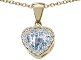 Original Star K™ Genuine Heart Shaped Aquamarine Pendant