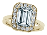 Original Star K™ 925 Genuine Emerald Cut Aquamarine Ring