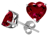 Original Star K™ 7mm Heart Shape Created Ruby Earring Studs