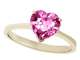 Tommaso Design™ Lab Created Pink Sapphire Heart Shape 8mm Solitaire Engagement Ring