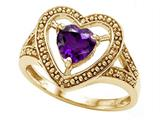 Tommaso Design™ Heart Shape Genuine Amethyst Ring style: 28638