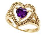 Tommaso Design™ Heart Shape Genuine Amethyst Ring style: 28638