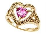 Tommaso Design™ Heart Shape 6mm Simulated Pink Topaz Ring style: 28649