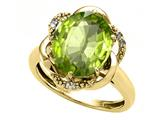 Tommaso Design Oval 12x10mm Genuine Peridot and Diamond Ring