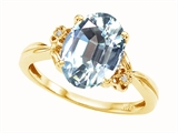Tommaso Design™ Oval 10x8mm Genuine Aquamarine and Diamond Ring
