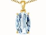 Tommaso Design™ Rare European Checkerboard Cut Cushion Genuine Aquamarine Pendant style: 300000