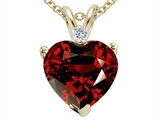 Tommaso Design 8mm Genuine Garnet and Diamond Heart Pendant