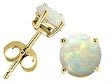 Tommaso Design Round 6mm Genuine Opal Earrings Stud
