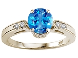 Tommaso Design Round 7mm Genuine Blue Topaz and Diamond Engagement Ring
