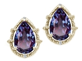 Tommaso Design™ Pear Shape 10x7mm Simulated Alexandrite and Diamond Earrings