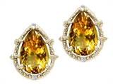 Tommaso Design Pear Shape 10x7mm Genuine Citrine and Diamond Earrings