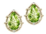 Tommaso Design™ Pear Shape 10x7mm Genuine Peridot and Diamond Earrings