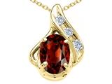 Tommaso Design™ Oval 7x5mm Genuine Garnet and Diamond Pendant style: 300068