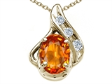 Tommaso Design™ Oval 7x5mm Genuine Orange Sapphire and Diamond Pendant style: 300081