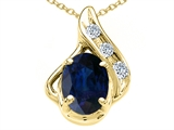 Tommaso Design™ Oval Genuine Sapphire and Diamond Pendant style: 300087