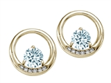 Tommaso Design™ Round 5 mm Genuine Aquamarine and Diamond Earrings