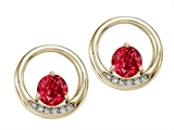 Tommaso Design Round 5mm Created Ruby and Diamond Earrings