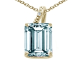 Tommaso Design™ Emerald Cut 10x8mm Genuine Aquamarine and Diamond Pendant