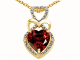 Tommaso Design Heart Shape 8 mm Genuine Garnet and Diamond Pendant
