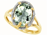 Tommaso Design™ Oval 10x8mm Genuine Green Amethyst and Diamond Ring style: 300559