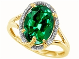 Tommaso Design™ Oval 10x8mm Simulated Emerald And Diamond Ring style: 300560