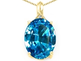 Tommaso Design Genuine Oval Blue Topaz and Diamond Pendant