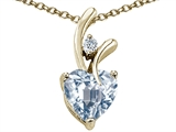 Original Star K Genuine Heart Shaped 8mm Aquamarine Pendant
