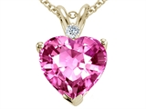 Tommaso Design 8mm Heart Created Pink Sapphire and Genuine Diamond Pend