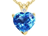 Tommaso Design 8mm Genuine Blue Topaz and Diamond Heart Pendant
