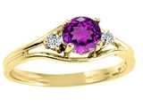 Tommaso Design Genuine Amethyst and Diamond Ring