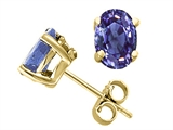 Tommaso Design Oval 6x4mm Genuine Tanzanite Stud Earrings