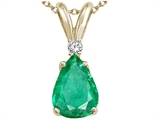 Tommaso Design Pear Shape Genuine Emerald and Diamond Pendant